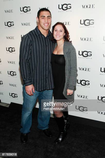 Josh Mauga and Amanda Gross attend UGG Australia and VOGUE Celebrate Madison Avenue Opening at UGG Australia on October 28 2010 in New York City