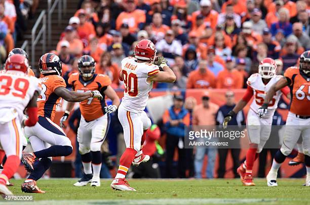 Josh Mauga of the Kansas City Chiefs intercepts Peyton Manning of the Denver Broncos in the second quarter It was the third interception of the game...