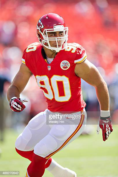 Josh Mauga of the Kansas City Chiefs warms up before a game against the Tennessee Titans at Arrowhead Stadium on September 7 2014 in Kansas City...