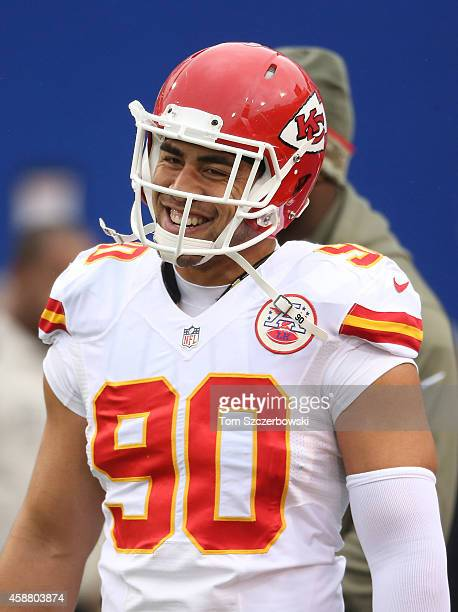 Josh Mauga of the Kansas City Chiefs warms up before the start of NFL game action against the Buffalo Bills at Ralph Wilson Stadium on November 9...