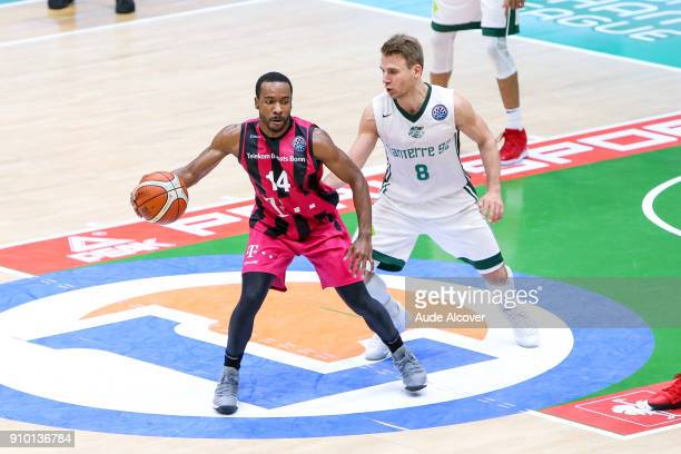 Josh Mayo of Bonn and Heiko Schaffartzik of Nanterre during the Basket ball Champions League match between Nanterre and Bonn on January 24 2018 in...
