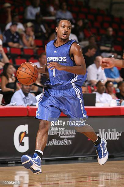 Josh Mayo of the Dallas Mavericks dribbles the ball against the Sacramento Kings during the NBA Summer League on July 18 2010 at Cox Pavilion in Las...