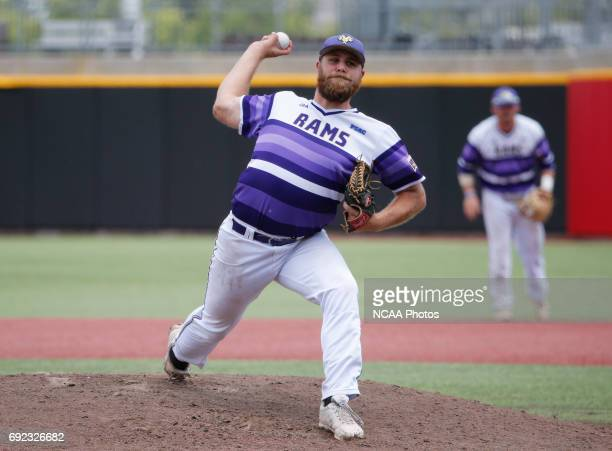 Josh McClain of West Chester University pitches against UC San Diego during the Division II Men's Baseball Championship held at The Ballpark in Grand...