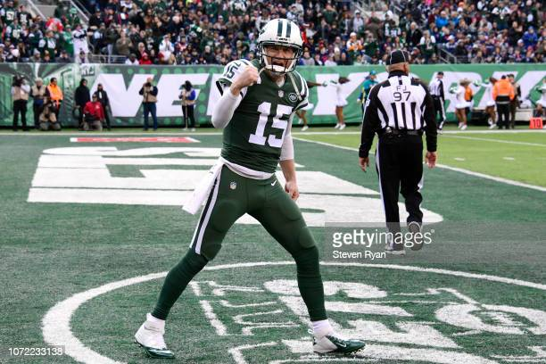 Josh McCown of the New York Jets celebrates his first quarter touchdown pass against the New England Patriots at MetLife Stadium on November 25, 2018...