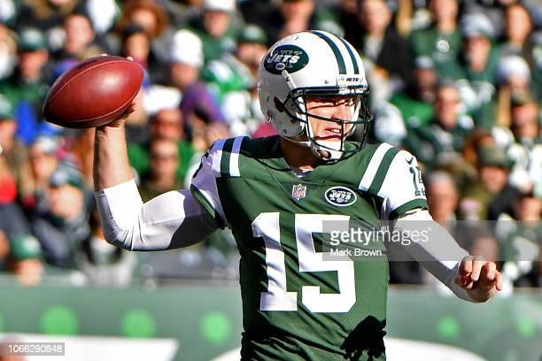 Josh McCown of the New York Jets looks to pass during the second quarter against the Buffalo Bills at MetLife Stadium on November 11 2018 in East...