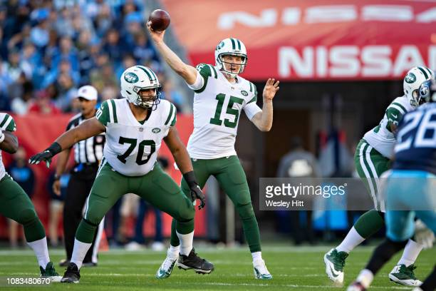 Josh McCown of the New York Jets throws a pass during a game against the Tennessee Titans at Nissan Stadium on December 2 2018 in NashvilleTennessee...