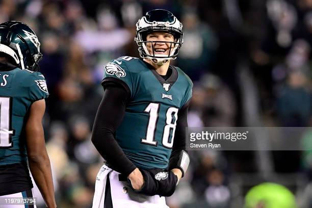 Josh McCown of the Philadelphia Eagles reacts against the Seattle Seahawks in the NFC Wild Card Playoff game at Lincoln Financial Field on January...