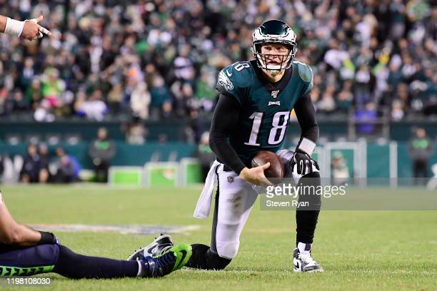 Josh McCown of the Philadelphia Eagles reacts against the Seattle Seahawks in the NFC Wild Card Playoff game at Lincoln Financial Field on January 05...