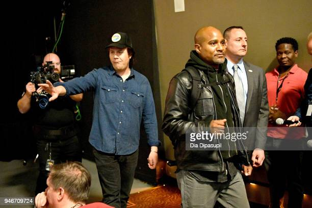 Josh McDermitt and Seth Gilliam speak at the AMC Survival Sunday The Walking Dead/Fear the Walking Dead at AMC Empire on April 15 2018 in New York...