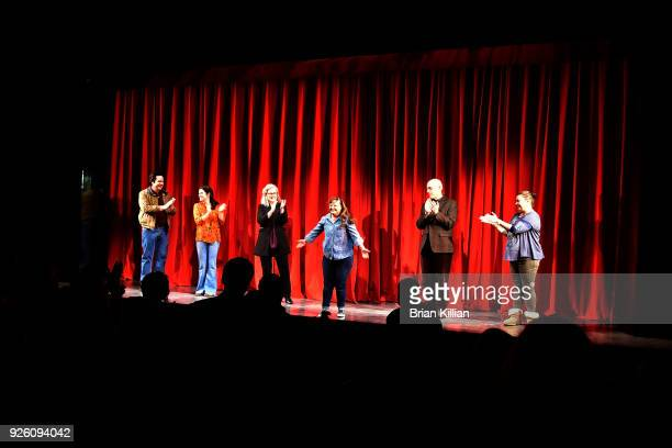 Josh McDermitt Diane Davis Debra Monk Mark Blum and Vanessa Aspillaga come out for the curtain call during the Amy And The Orphans Opening Night at...