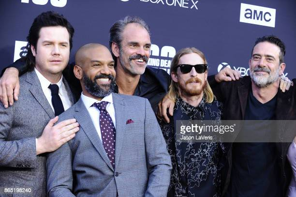 Josh McDermitt Khary Payton Steven Ogg Austin Amelio Jeffrey Dean Morgan attend the 100th episode celebration off 'The Walking Dead' at The Greek...