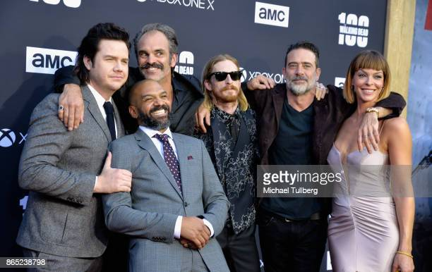 Josh McDermitt Khary Payton Steven Ogg Austin Amelio Jeffrey Dean Morgan and Pollyanna McIntosh arrive at The Walking Dead 100th episode premiere at...