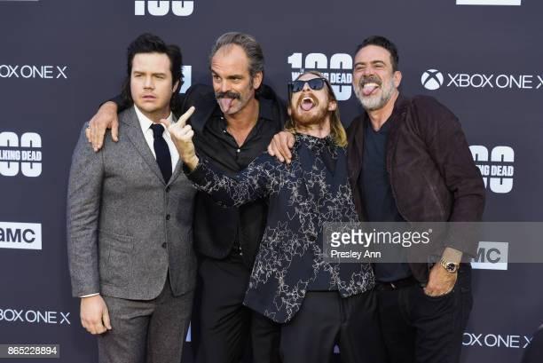 Josh McDermitt Steven Ogg Austin Amelio and Jeffrey Dean Morgan attend AMC Celebrates The 100th Episode Of 'The Walking Dead' Arrivals at The Greek...