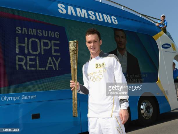 Josh McEachran of Chelsea during his Olympic Torch relay on May 23 2012 in Calne England