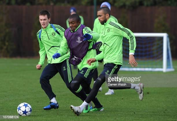 Josh McEachran, Salomon Kalou, Jose Bosingwa of Chelsea during the Chelsea training session, ahead of the UEFA Champions League Group F match against...