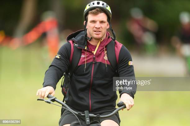 Josh McGuire arrives for the Queensland Maroons State of Origin training session at Intercontinental Sanctuary Cove Resort on June 16 2017 in...