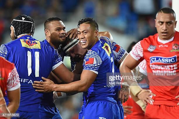 Josh McGuire of Samoa celebrates scoring a try during the International Test Match between TOA Samoa and Tonga at Cbus Super Stadium on May 2 2015 on...
