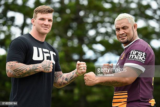 Josh McGuire of the Broncos and UFC fights Mark Hunt pose during a UFC photocall on March 17 2016 in Brisbane Australia
