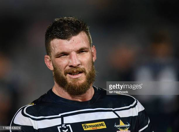 Josh McGuire of the Cowboys looks on during the round 18 NRL match between the North Queensland Cowboys and the South Sydney Rabbitohs at 1300SMILES...