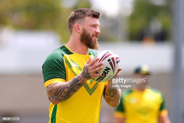 Josh McGurie is seen during the Australian Kangaroos Rugby League World Cup training session at Langlands Park on November 28 2017 in Brisbane...