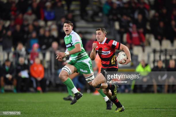 Josh McKay of Canterbury charges forward during the round four Mitre 10 Cup match between Canterbury and Manawatu at AMI Stadium on September 6 2018...