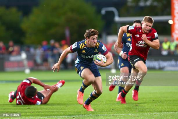 Josh Mckay of the during the round four Super Rugby match between the Crusaders and Highlanders at Orangetheory Stadium on February 21 2020 in...