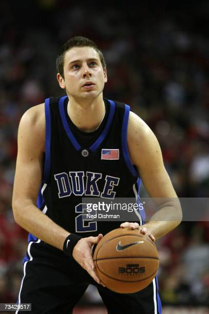 Josh McRoberts of the Duke University Blue Devils shoots against the University of Maryland Terrapins at the Comcast Center on February 11 2007 in...