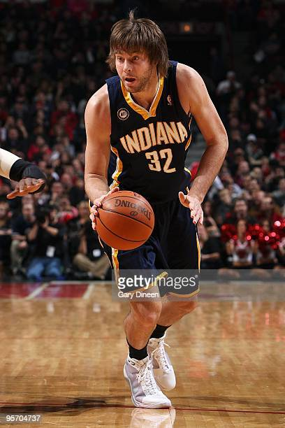 Josh McRoberts of the Indiana Pacers handles the ball against the Chicago Bulls during the game on December 29 2009 at the United Center in Chicago...