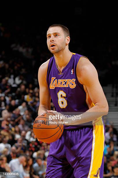 Josh McRoberts of the Los Angeles Lakers attempts a free throw shot against the Golden State Warriors on April 18 2012 at Oracle Arena in Oakland...
