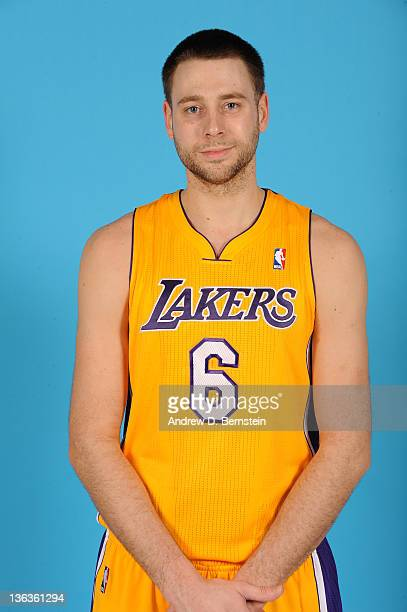 Josh McRoberts of the Los Angeles Lakers takes his media day portrait at Staples Center on December 19 2011 in Los Angeles California NOTE TO USER...