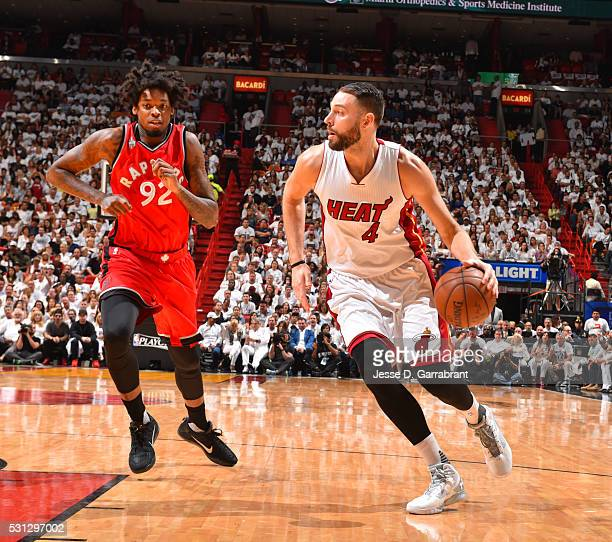 Josh McRoberts of the Miami Heat controls the ball against the Toronto Raptors during the Eastern Conference playoffs Semifinals Game Six on May 13...