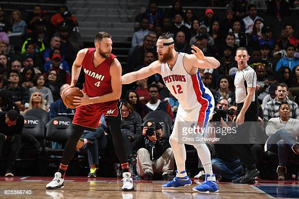 Josh McRoberts of the Miami Heat handles the ball against the Detroit Pistons on November 23 2016 at The Palace of Auburn Hills in Auburn Hills...
