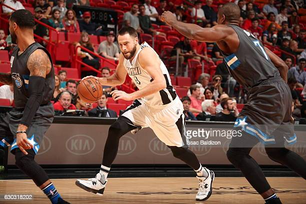 Josh McRoberts of the Miami Heat handles the ball against the Orlando Magic on December 20 2016 at American Airlines Arena in Miami Florida NOTE TO...