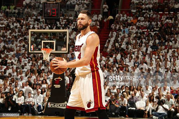 Josh McRoberts of the Miami Heat handles the ball during the game against the Toronto Raptors in Game Three of the Eastern Conference Semifinals...
