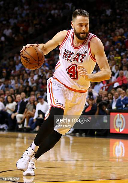 Josh McRoberts of the Miami Heat in action during the game against the Golden State Warriors at the American Airlines Arena on February 24 2016 in...