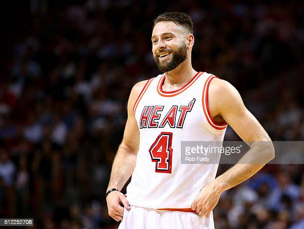 Josh McRoberts of the Miami Heat looks on during the game against the Golden State Warriors at the American Airlines Arena on February 24 2016 in...