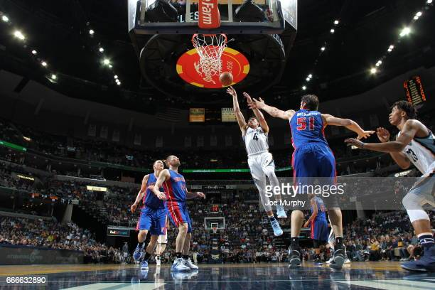 Josh McRoberts of the Miami Heat shoots the ball against the Detroit Pistons on April 9 2017 at FedExForum in Memphis Tennessee NOTE TO USER User...