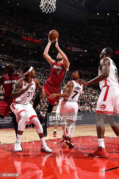 Josh McRoberts of the Miami Heat shoots the ball during the game against the Toronto Raptors in Game Seven of the Eastern Conference Semifinals...