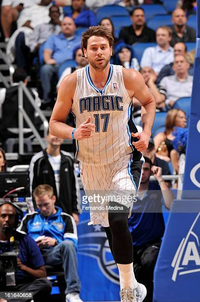Josh McRoberts of the Orlando Magic runs up the court against the Atlanta Hawks during the game on February 13 2013 at Amway Center in Orlando...