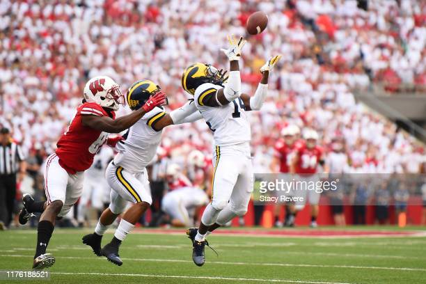 Josh Metellus of the Michigan Wolverines defends a pass intended for Quintez Cephus of the Wisconsin Badgers during the first half at Camp Randall...