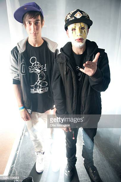 Josh Modestep and Tony Terror of Modestep pose for a backstage portrait at o2 Academy on February 11 2011 in Leicester England