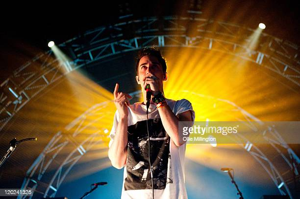 Josh Modestep of Modestep performs on the Waxon stage during the first day of Global Gathering at Long Marston Airfield on July 29 2011 in...