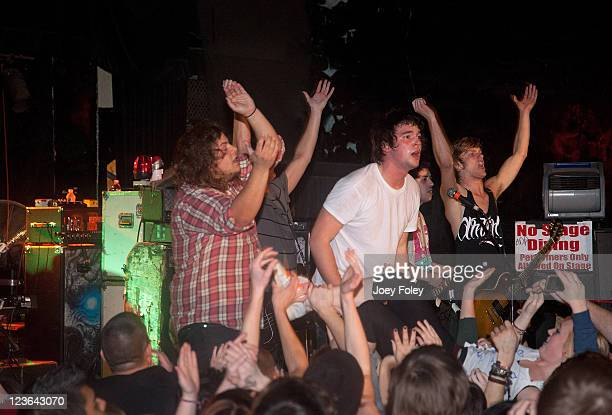 Josh Modisette Taylor Kimball Danon SaylorChris Johnston and Derrick Sechrist of A Bullet for Pretty Boy performs in concert in front of a soldout...