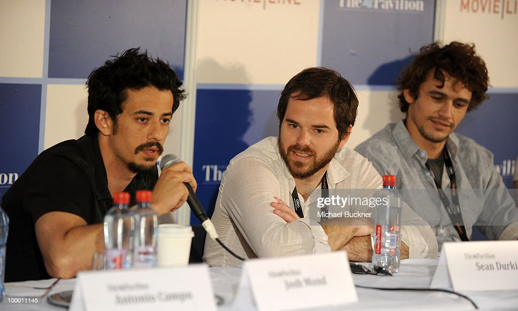 Josh Mond, Producer Sean Durkin and James Franco attend the James Franco Press Conference at the American Pavillion during the 63rd Annual Cannes Film Festival on May 20, 2010 in Cannes, France.