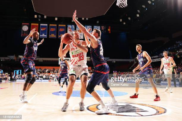 Josh Mooney of the Perth Wildcats shoots during the round 19 NBL match between Adelaide 36ers and Perth Wildcats at Adelaide Entertainment Centre, on...