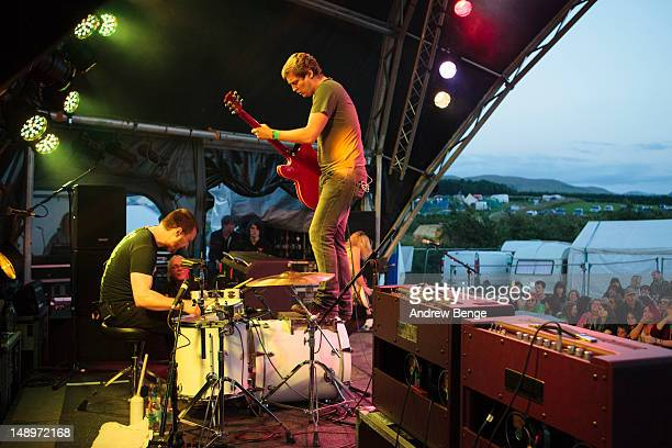 Josh Morgan and Billy Lunn of The Subways perform on stage during Cockrock music festival at Wellington Farm on July 20, 2012 in Cockermouth, United...