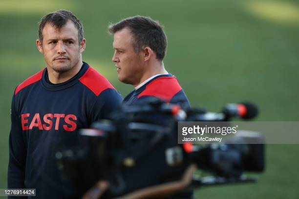 Josh Morris and Brett Morris speak to the media during a Sydney Roosters media opportunity at Sydney Cricket Ground on September 27, 2020 in Sydney,...