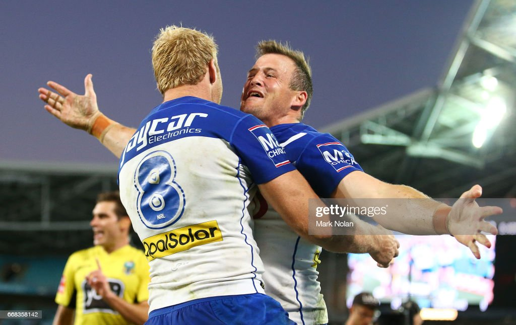 Josh Morris of the Bulldogs celebrates scoring a try during the round seven NRL match between the Canterbury Bulldogs and the South Sydney Rabbitohs at ANZ Stadium on April 14, 2017 in Sydney, Australia.