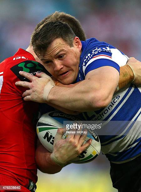 Josh Morris of the Bulldogs in action during the round 13 NRL match between the Canterbury Bulldogs and the St George Illawarra Dragons at ANZ...