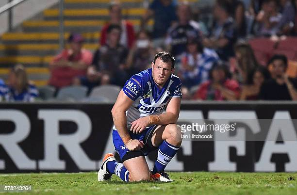 Josh Morris of the Bulldogs looks on after a Cowboys try during the round 20 NRL match between the North Queensland Cowboys and the Canterbury...